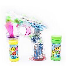 "7"" LED Bubble Gun Flashing Lights 2 Bubble Refill Blaster Even Flow Kid Gift!"