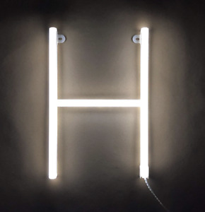 Neon White Letter 'H' LED Light Signs Art Decorative Lights Wall Decor Party