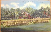 1945 Linen Postcard: 'Troops at Fort McPherson - Atlanta, Georgia GA'