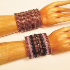 Set of 2 Purple Black Wide Bling Boho Cuff Handmade Bracelets Bali Seed Bead