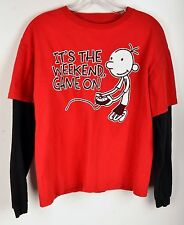 Diary Of A Wimpy Kid Childs Long Sleeve T-Shirt Black Red  XL Play Video Games