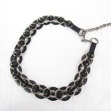 "Vintage Leather Chain Link Boho Hippie Festival Belt 34"" - 39"""