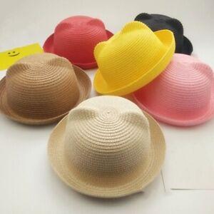 Fashion Summer Kids Beach Fedora Sun Hat Cute Cat Ears Parent-child Straw Hat