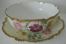 "ANTIQUE SET T&V T.V FRANCE Limoges ROSES Porcelain 9"" SERVING BOWL PLATTER TRAY"