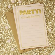 INVITATIONS Pastel Pink + Gold Birthday Party Invites 10 Pack Gold Envelopes