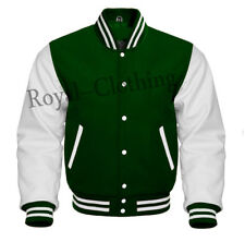 Varsity Forest Green Wool & Genuine White Leather Sleeves Jacket in Sizes XS~7XL