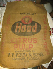 ANTIQUE H.P. HOOD COUNTRY FARM DAIRY MILK COW BURLAP FEED SACK BAG ART SIGN USA