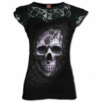 Spiral Direct LACE SKULL Womens, Rose/Goth, Lace Layered Cap Sleeve Top Clothing