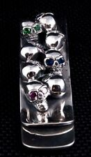 KING DIAMOND BABY SKULL 925 STERLING SILVER BILL MONEY CLIP HOLDER NEW MENS ROCK