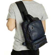 Men's Leather Chest Pack Shoulder Bag Backpack Sports Satchel Sling Bag Riding