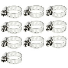 """10Pcs 3/8""""-1/2"""" Adjustable Stainless Steel Drive Hose Clamp Fuel Line Worm Clip"""