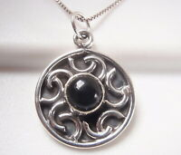 Black Onyx Accented Circle 925 Sterling Silver Necklace