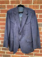 Circle S Dallas Texas Western Cowboy Blazer Blue Suede 46L Sport Coat Jacket