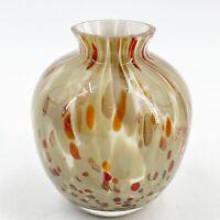 Vintage Speckled Rust Brown White Art Glass Bulb Shape Fluted Bud Vase