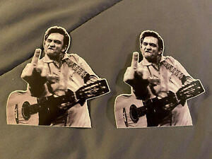 "Lot (2) JOHNNY CASH Middle Finger 4"" x 4"" Guitar Photo Stickers FAST SHIP!"