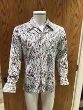Vtg 70s Joel California Mens Birds / Trees Long Sleeve Disco shirt Euc A-5