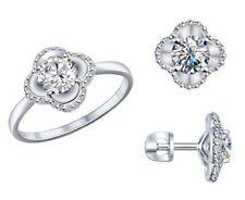 SOKOLOV Jewelry set - 925 Silver Stud Earrings & Ring SZ 7 (17.5 mm) Fianites