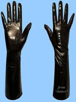 NEW WOMENS size 7.5 LONG BLACK GENUINE PATENT LAMBSKIN LEATHER SILK LINED GLOVES