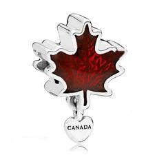CHARM ARGENT 925 FEUILLE ERABLE LOVE CANADA PENDENTIF FEMME