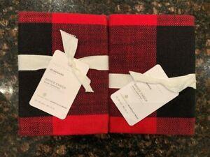 NEW Pottery Barn Set / 2 Bryce Check Standard Pillow Shams Red / Black