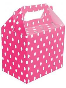 POLKA DOT PINK PARTY BOX HEN NIGHT PARTY BIRTHDAY PARTY FOOD BOX SPOTTY PINK