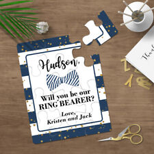 Will You Be My Ring Bearer Blue Bow Tie Puzzle Proposal Invitation  Design - 095