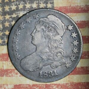1831 CAPPED BUST SILVER HALF DOLLAR COLLECTOR COIN, FREE SHIPPING