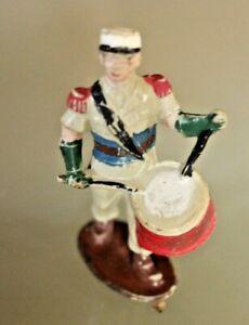 Soldato Antico Plastica Cappellino Bianco Legionario Tamburo Musicista Anni 60