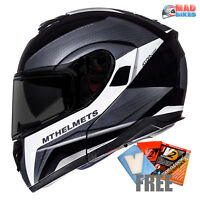 MT Atom Tarmac Flip Up Front Motorcycle Motorbike Crash Helmet Matt Black White