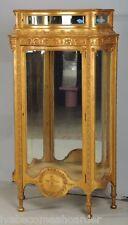 ANTIQUE FRENCH STYLE GOLD GILT CURIO TOP SERPENTINE GLASS VITRINE CURIO CABINET