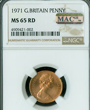 1971 GREAT BRITAIN ONE NEW PENNY NGC MS65 RD PQ 2ND FINEST GRADE MAC SPOTLESS *
