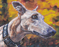 GREYHOUND dog art portrait canvas PRINT of LA Shepard painting 8x10""