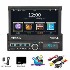 "1DIN 7"" Capacitive Screen Car MP5 Player AM GPS Navigation Sat NAV Camera EU Map"