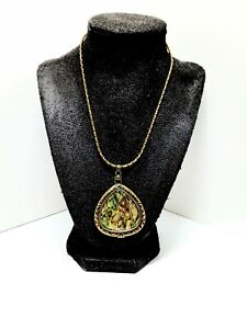 Gold Abalone Shell Reversible Pendant Necklace