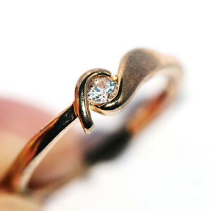 Cute 18K Yellow Gold Filled Crystal Rings Jewelry for Womens Girls Size 6