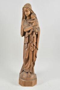 g63m72- Holzfigur Madonna mit Kind, geschnitzt