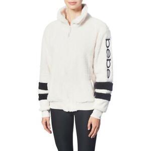 Bebe Sport Women's Sherpa Striped Full Zip Embroidered Logo Jacket for Women