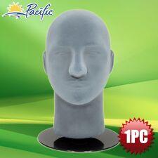 "HALLOWEEN Male foam Grey velvet MANNEQUIN head holder base display wig hat 11"""