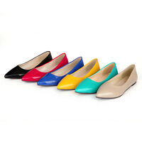 Ladies Flats Shoes Shiny Synthetic Leather Low Heels Pointed Pumps US Size s633