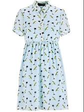 Celebrity Designer Sz 12 Duck Egg Palm Tree Parrot Tropical Mini DRESS £55 50's