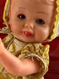 """Italian Celluloid Jointed Baby Doll 6"""" Preowned Very Special Good Condition!"""
