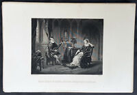1859 T Gaspey Original Antique Print Mary Queen of Scots, Chatelar by H Fradelle