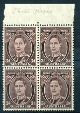 More details for australia 1941 3d purple-brown die 3 thin paper sg187var blk 4 mnh cp196a sale+