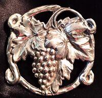 Antique Sterling Silver Grape Cluster Leaf Vine  Brooch Art Nouveau Vintage Pin