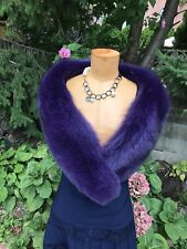 Real  Fox fur Purple shawl collar mini stole wrap Made in the USA
