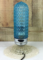 Vintage Art Deco Blue Glass Hobnail Lamp With Glass Base