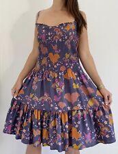 GORMAN Purple Silk Floral Bird Print A-line Smocked Midi Dress Size 12 14 16