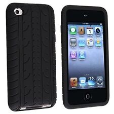 BLACK TYRE TREAD SILICONE GEL CASE COVER FOR APPLE IPOD TOUCH 4