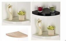 Floating Corner Shelf Shelving Gloss Finish & Wood Effect Wall Mounted Shelves