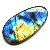 Cts. 53.75 Natural Multi Blue Fire Labradorite Cabochon Oval Cab Loose Gemstone